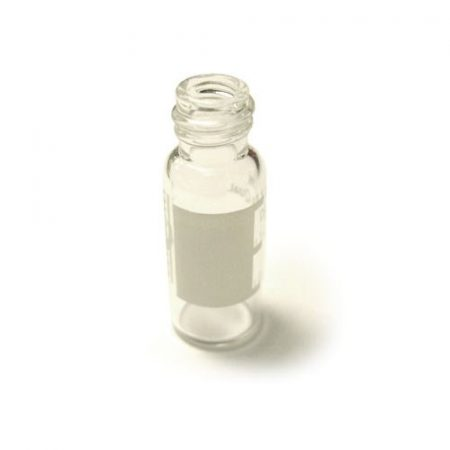 Clear autosampler vial with write-on patch