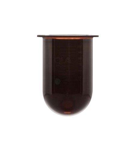 A QLA 1000mL amber UltraCenter precision glass vessel with plastic rim