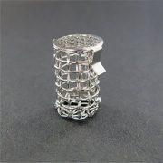 "A QLA 8 mesh basket sinker. 316 SS, 0.90"" (22.9mm) long x 0.51"" (12.9mm) wide."