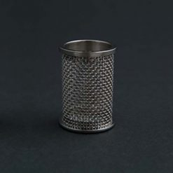 A QLA 10 mesh clip style basket for Erweka, 316 SS, serialized.