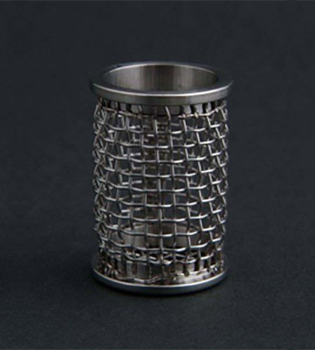 A QLA 10 mesh clip style basket for Sotax. 316 stainless steel, serialized.