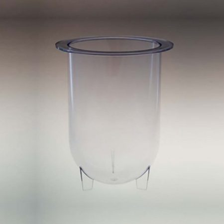 1000mL clear plastic footed vessel for Distek   Like 3350-0095