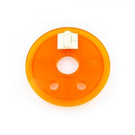 Amber hinged cover with large centre hole   Distek dissolution